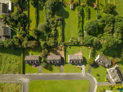 Aerial View Of A Housing Estate Stock Photo - Download Image Now