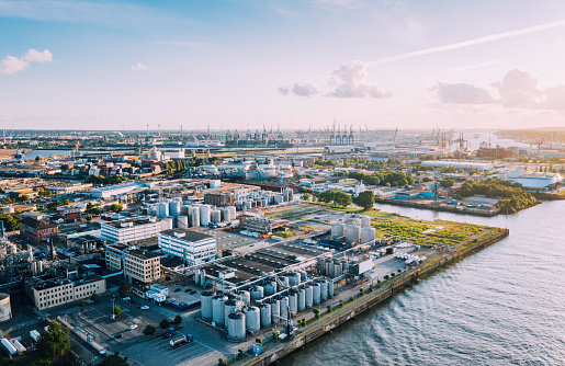 Aerial view of a Industrie complex in Hamburg, Germany