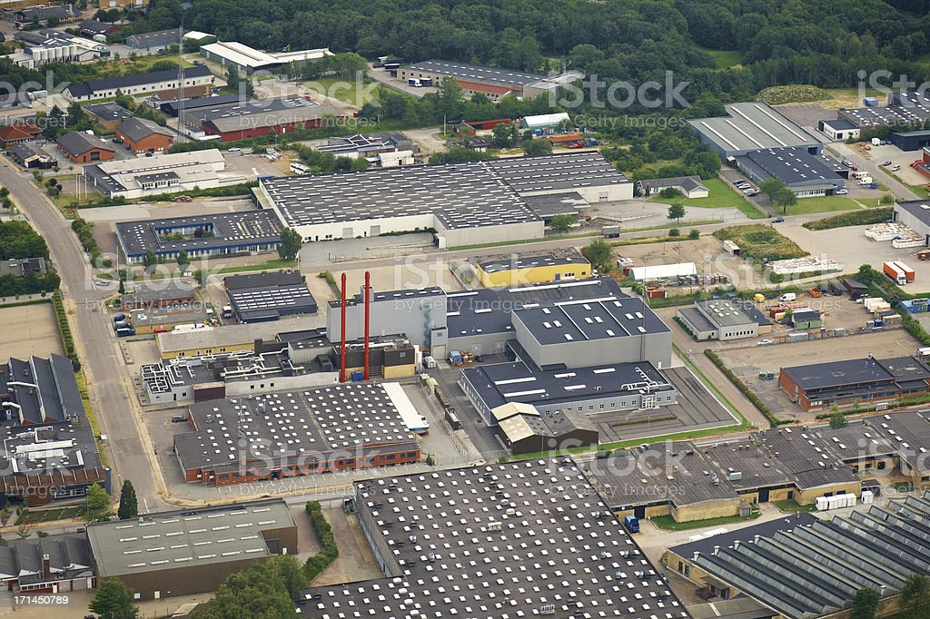 Aerial view of a industry zone royalty-free stock photo