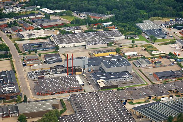 aerial view of a industry zone - industriegebied stockfoto's en -beelden