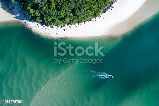 istock Aerial view of a kayak in beautiful blue turquoise water. 1081276792