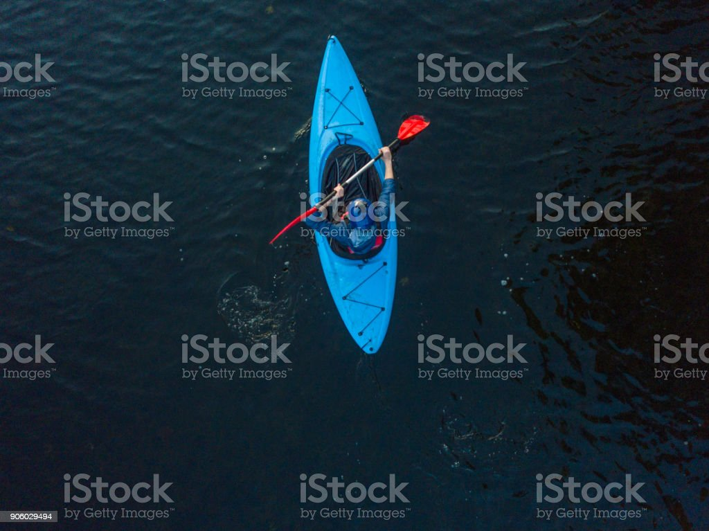 Aerial view of a kayaker on a river, Dublin, Ireland. stock photo