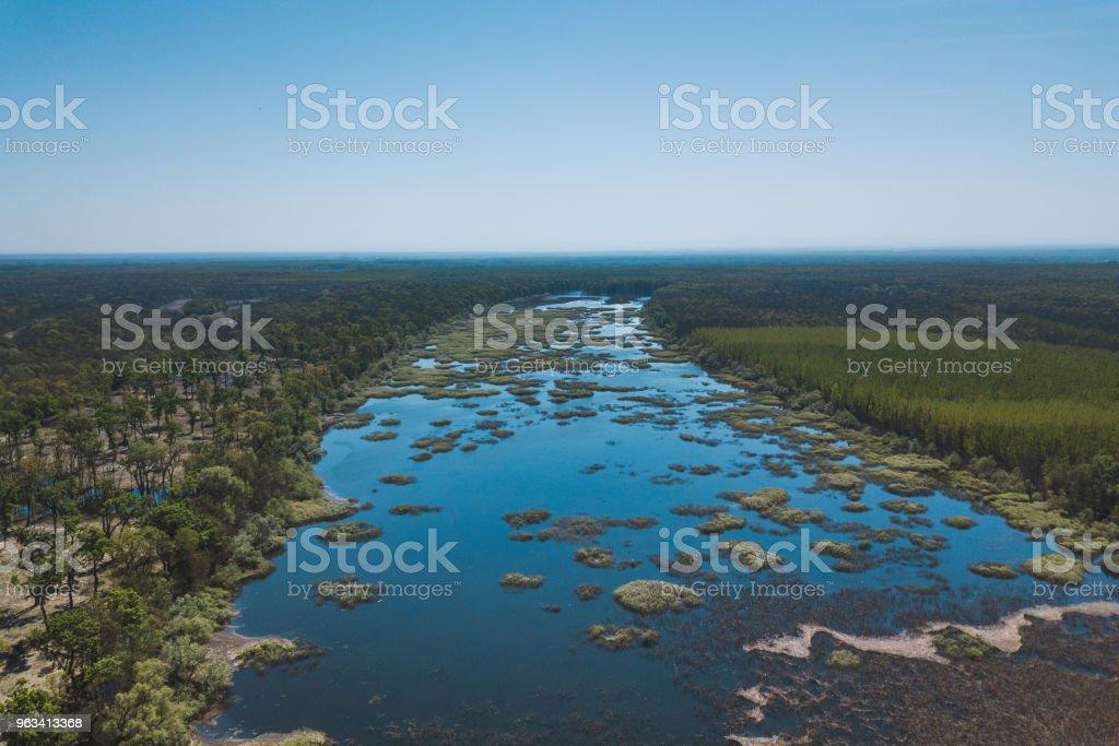 Vue aérienne d'un lac au printemps - Photo de Agriculture libre de droits