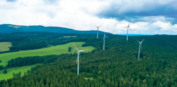 Aerial view of a landscape with wind energy in the black forest area Germany stock photo