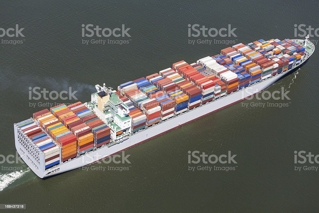 Aerial view of a large container ship stock photo