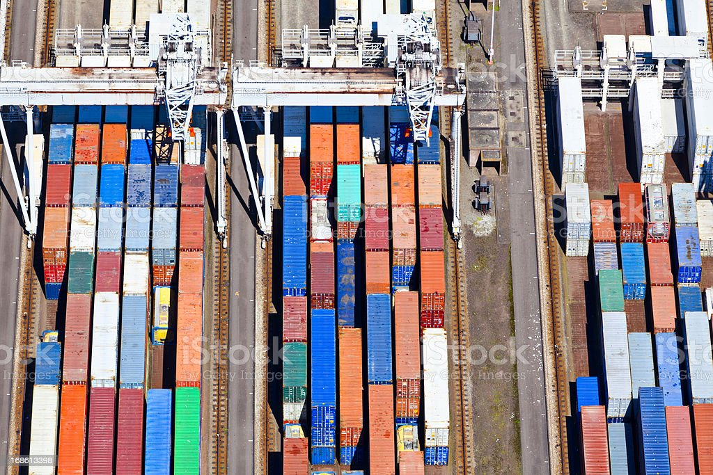 Aerial view of a large container terminal stock photo