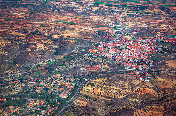 Aerial view of a little town with copy space stock photo