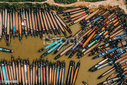Scenic aerial view of a lot of boats near the market on Inle Lake