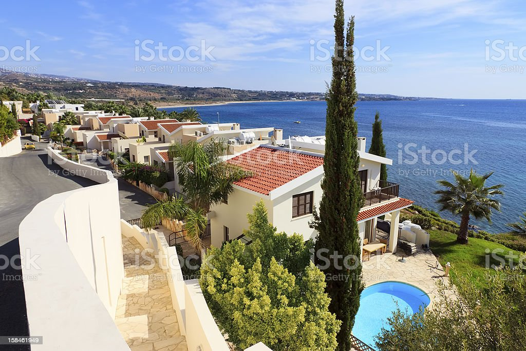 Aerial view of a luxury villa by the sea stock photo