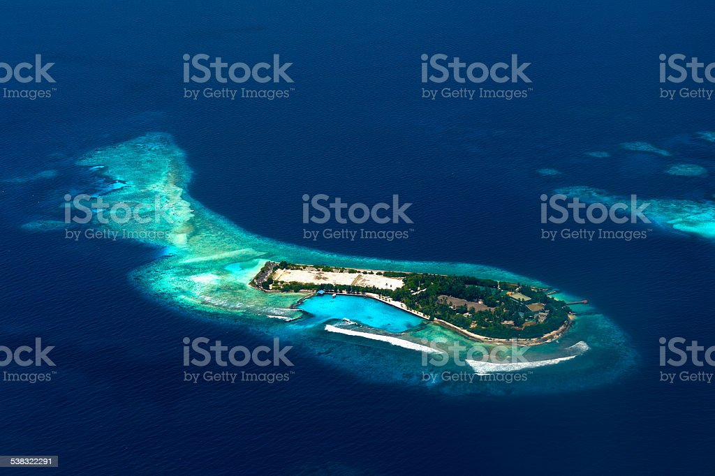Aerial view of a maldivian resort stock photo