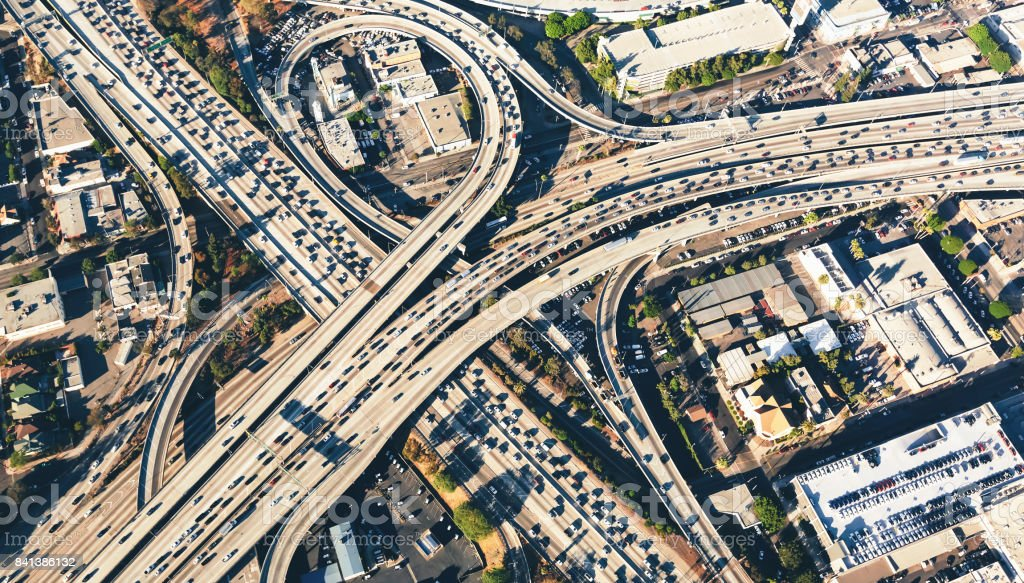 Aerial view of a massive highway intersection in LA stock photo