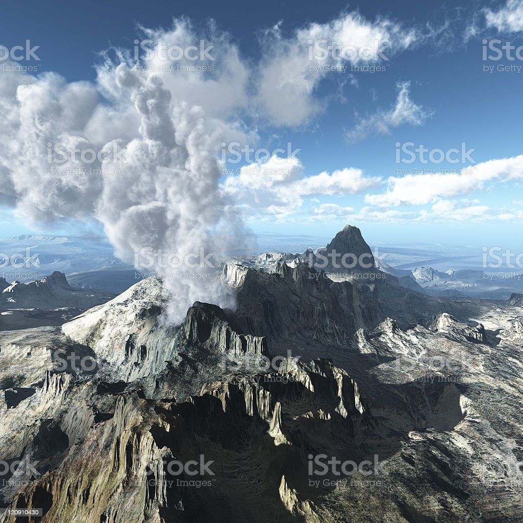 Aerial view of a massive volcano nearing eruption royalty-free stock photo