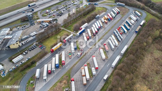 Aerial view of a motorway highway truck rest area