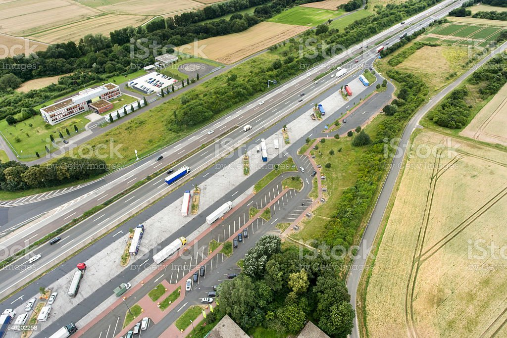 Aerial view of a motorway highway rest area stock photo