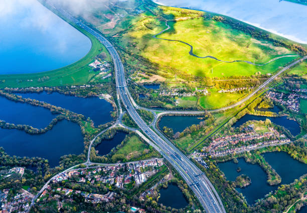 Aerial view of a motorway in England stock photo