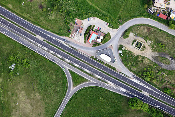 Aerial view of a motorway stock photo