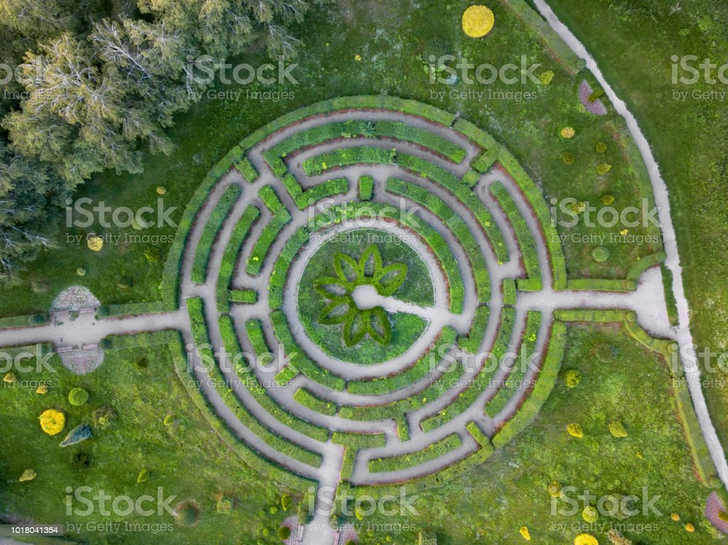 Aerial view of a natural labyrinth in the garden. Photo from the drone Birds eye view from the drone to a labyrinth in the Botanical garden in the summer day. Maze Stock Photo