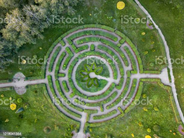 Aerial View Of A Natural Labyrinth In The Garden Photo From The Drone Stock Photo - Download Image Now