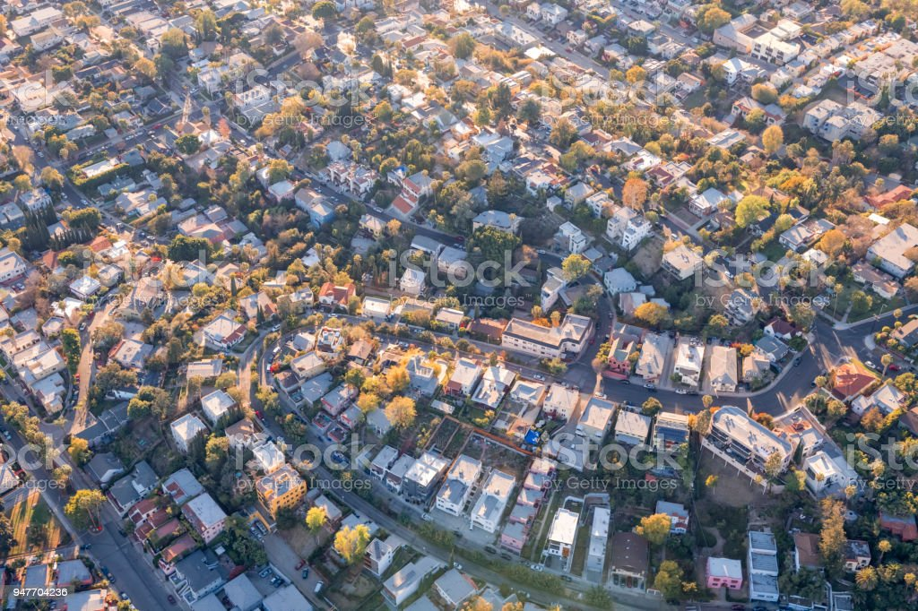 Aerial View of a Neighborhood in the Hollywood Hills stock photo