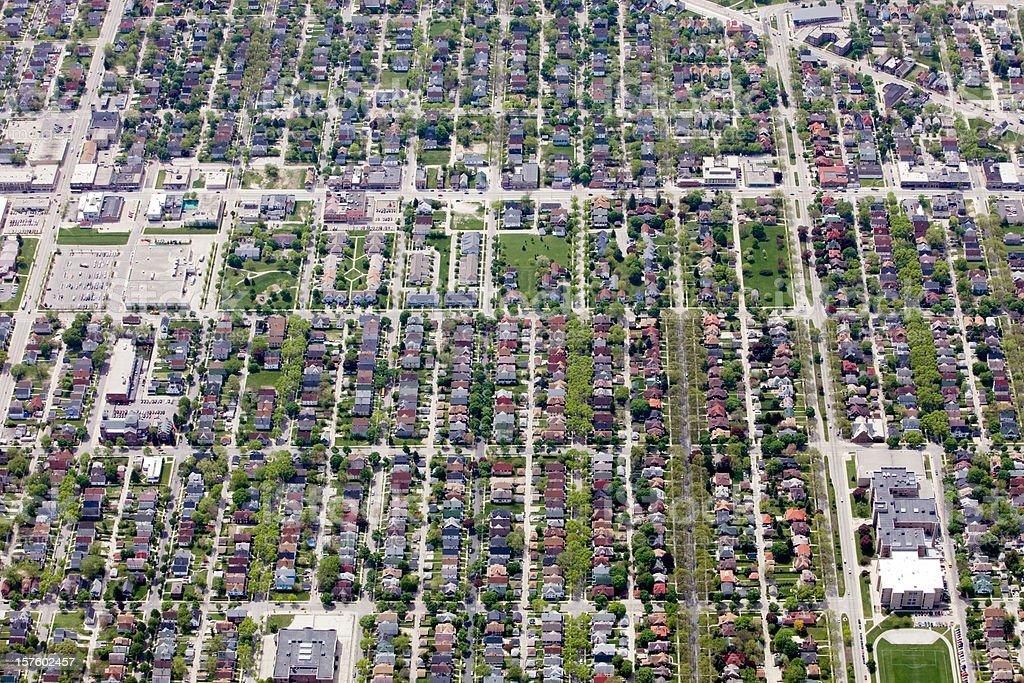 Aerial View of a Neighborhood Near Milwaukee Wisconsin stock photo