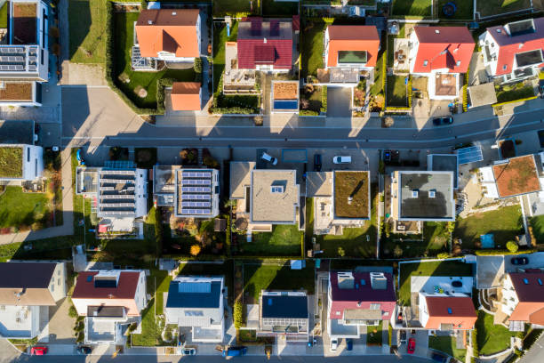 Aerial view of a new residential neighborhood Residential neighborhood, aerial view, Baden Wurttemberg, Germany. town stock pictures, royalty-free photos & images