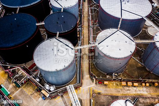 Aerial View of a Oil Refinery and Fuel Storage, Hong Kong, China