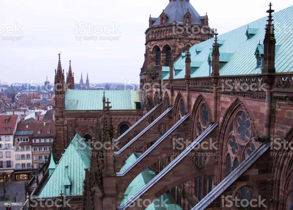 Aerial view of a part of Strasbourg in France from the Notre-Dame de Strasbourg Cathedral royalty-free stock photo
