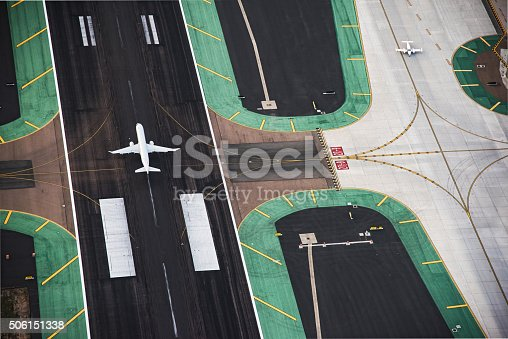 istock Aerial View of a Passenger Jet on the Runway 506151338
