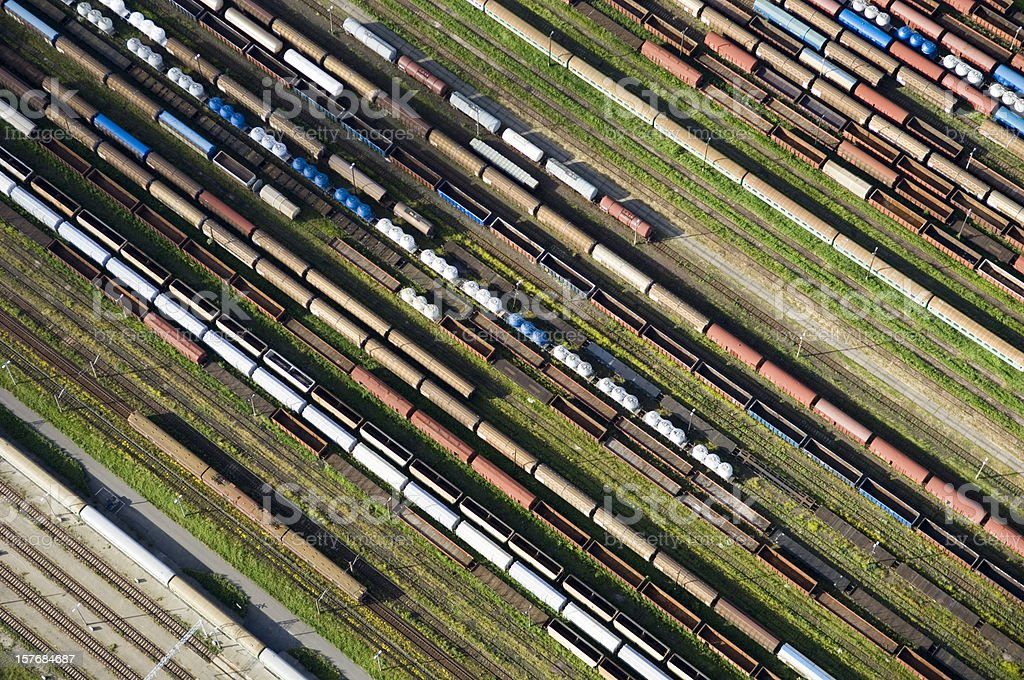 aerial view of a Railway stock photo
