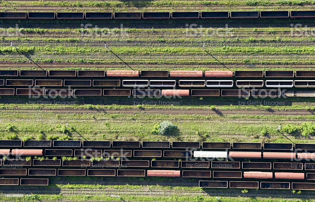 aerial view of a railway station stock photo
