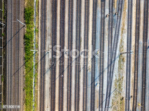Aerial view of railway tracks at a freight terminal, Wels, Austria