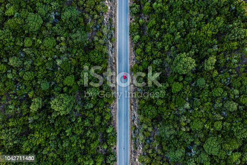 istock Aerial view of a red car that runs along a road flanked by a green forest. 1042711480