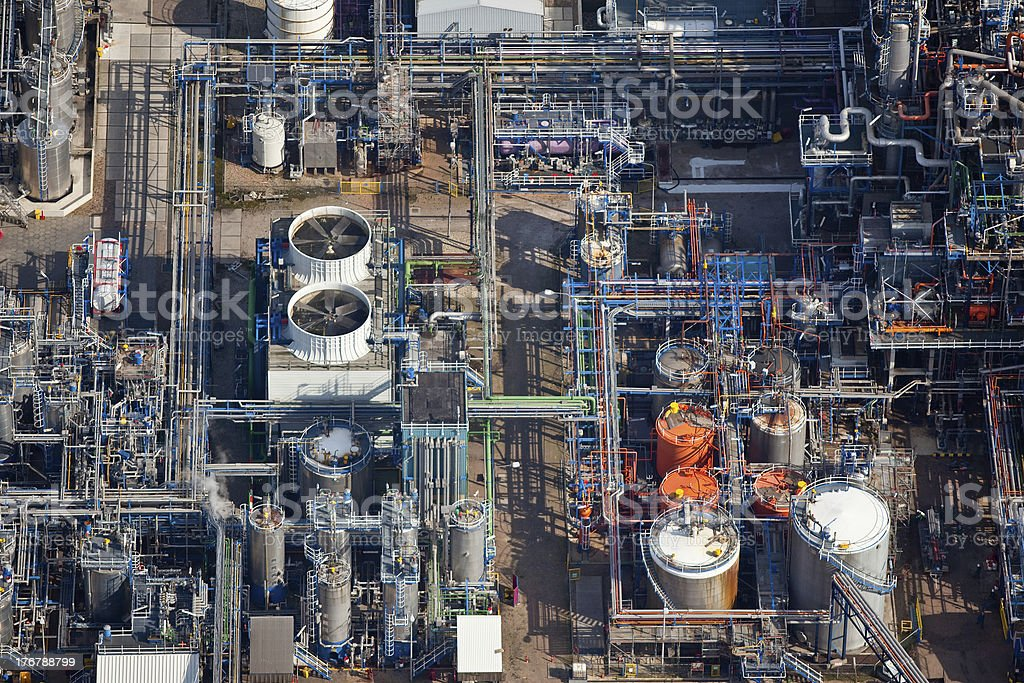 Aerial view of a refinery stock photo