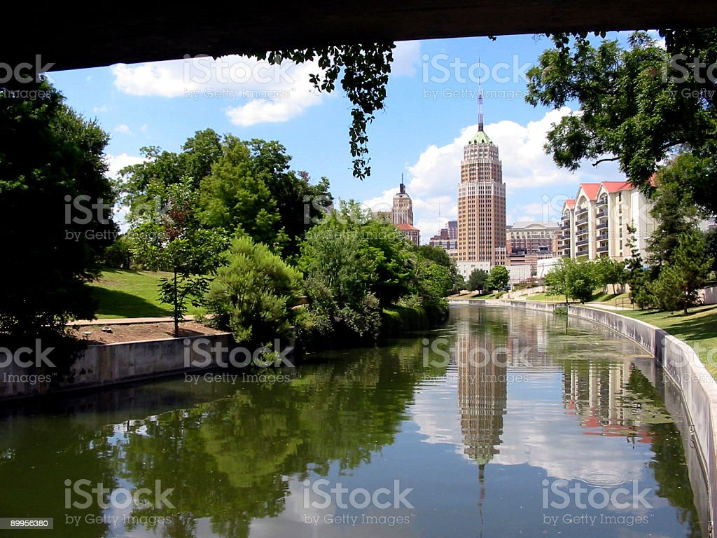 Aerial view of a riverwalk at the city stock photo