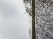 Aerial view of a road in Harriman State Park in winter - New York - USA