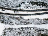 Aerial view of a road The Palisades Interstate Parkway in Bear Mountain State Park in winter - New York - USA