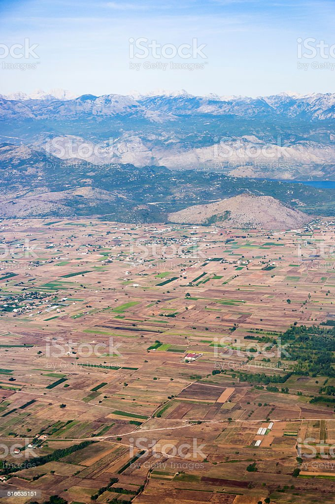 Aerial view of a rural landscape stock photo