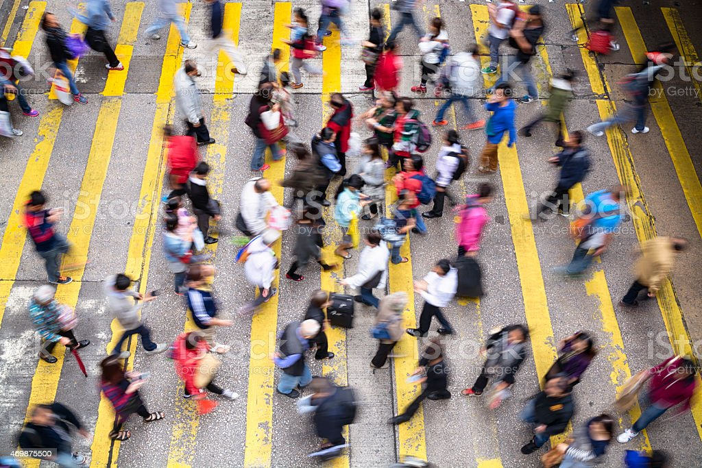 Aerial view of a rush hour in Hong Kong stock photo
