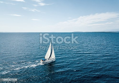 Aerial view of a sailing boat
