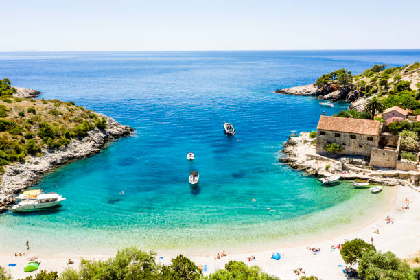 Aerial view of a Sandy Beach in Croatia Aerial view of a Sandy Beach in Croatia croatian culture stock pictures, royalty-free photos & images