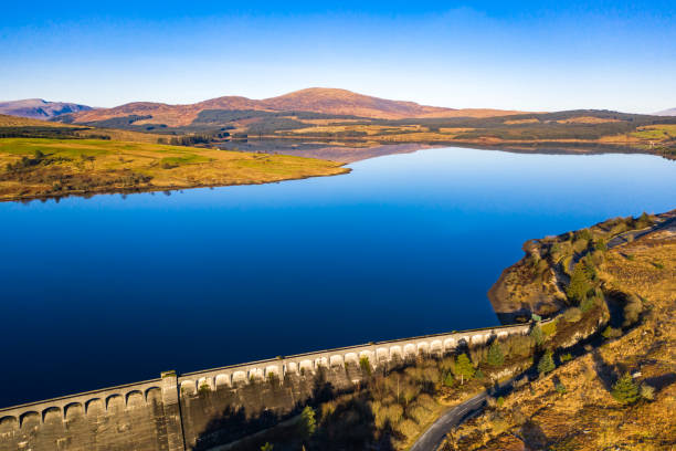 Aerial view of a Scottish loch and dam in Dumfries and Galloway, south west Scotland stock photo