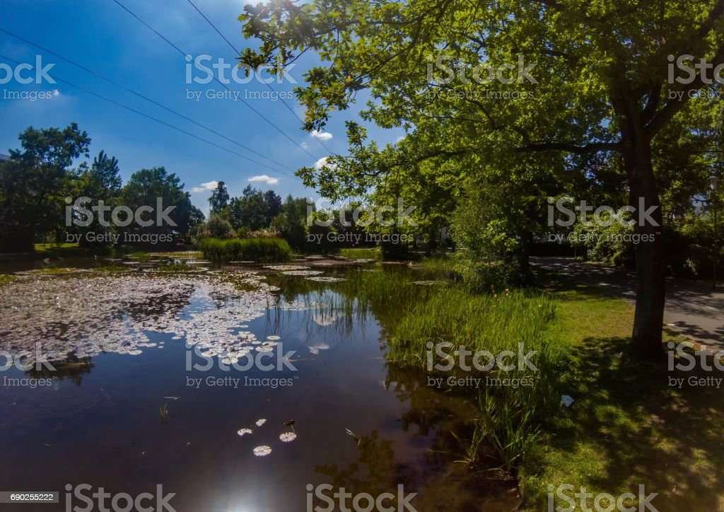 Aerial view of a small lake in the district Bruck of the city of Erlangen in Bavaria stock photo