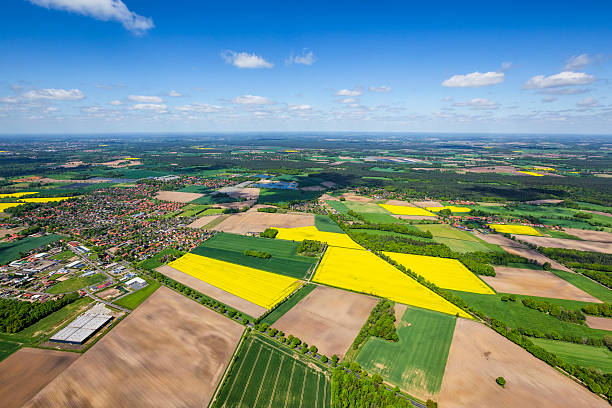 Aerial view of a small town and Farmland in Germany Aerial view of a small town and agricultural land in Germany.Small town is Celle, in Lower Saxony, Germany. lower saxony stock pictures, royalty-free photos & images