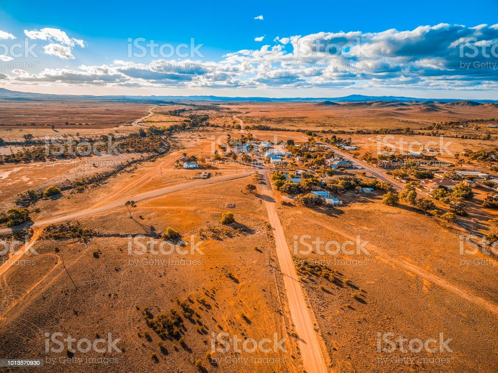 Aerial view of a small town in vast plains of South Australian outback stock photo
