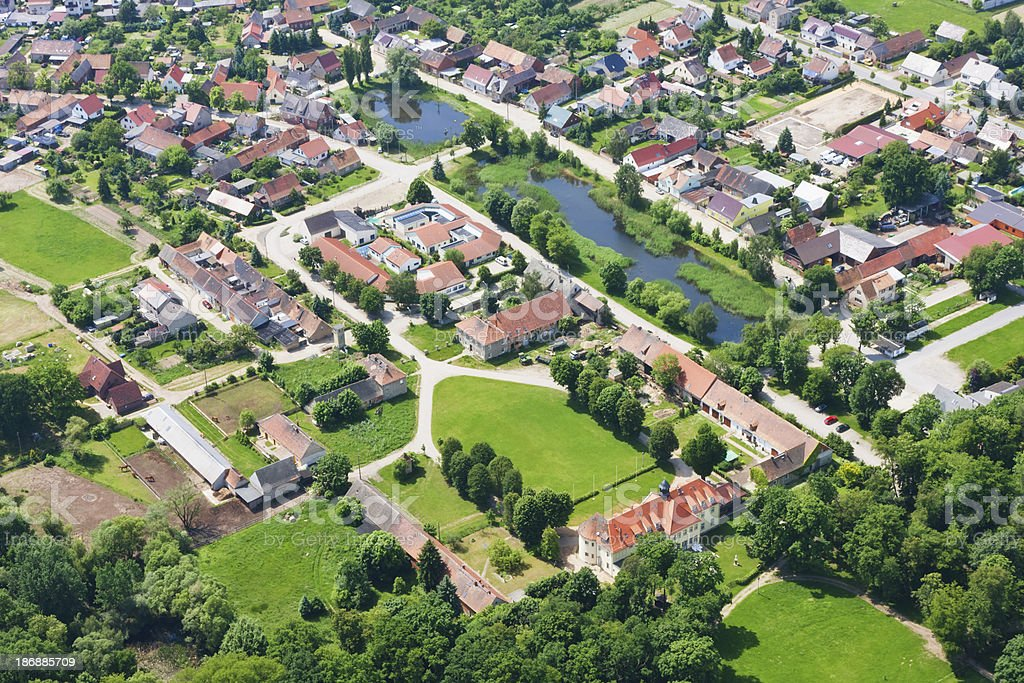 Aerial view of a small Town ( Herzberg/Elster ) stock photo