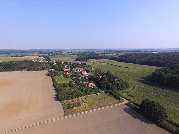 aerial view of a small village on agriculture fields – Foto