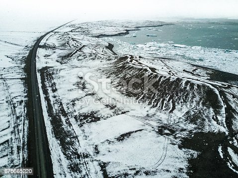 aerial view of a snowed road in iceland