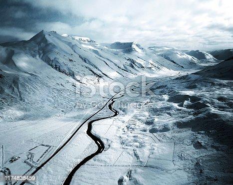 aerial view of a snowed road in westfjord - iceland