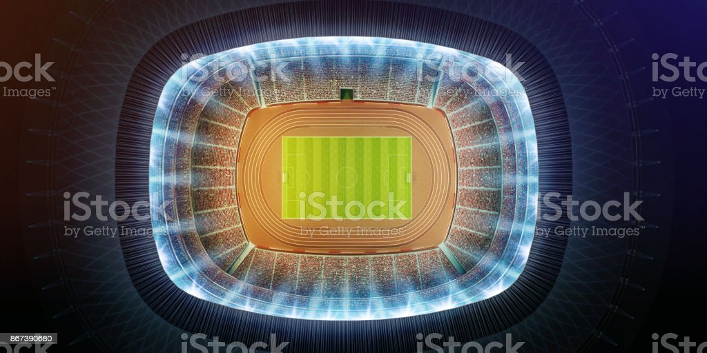 aerial view of a soccer stadium stock photo