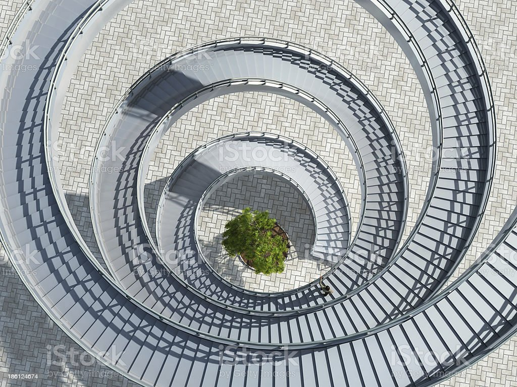 Aerial View Of A Spiral Staircase With A Tree In The Middle Royalty Free  Stock